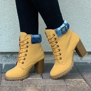 Tan Lace-up Block Heel Rugged Sole Combat Boots